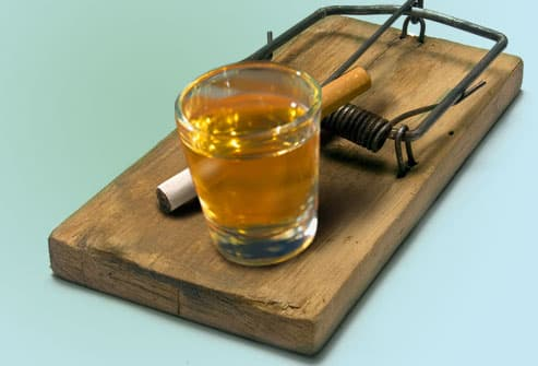 Mouse trap with Alcohol and Cigarette Bait