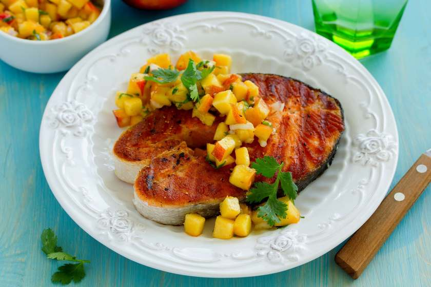 fish with peach salsa