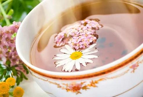 Close up of steamy chamomile tea