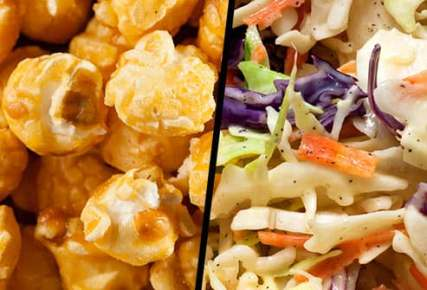 caramel corn and cole slaw diptych