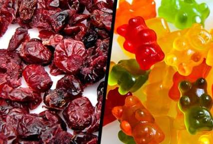 dried cranberries and gummy bears diptych