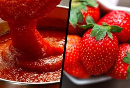 tomato sauce and strawberries diptych