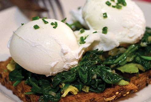 poached eggs on spinach and toast