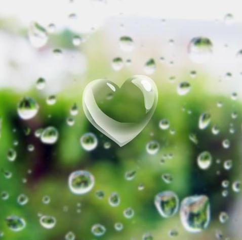 kalp resmi-su damlacıkları