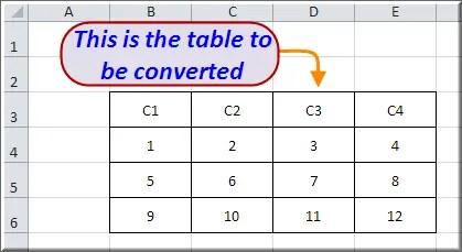 Примерная таблица для преобразования