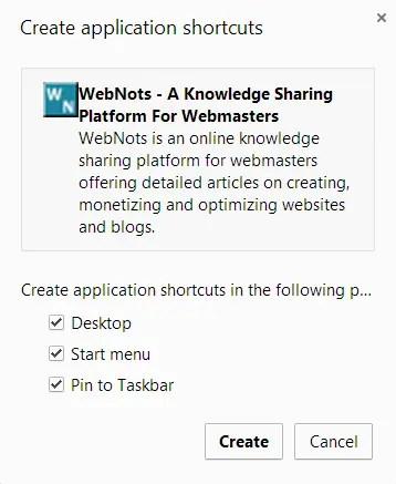 Создание ярлыков веб-страниц в Chrome