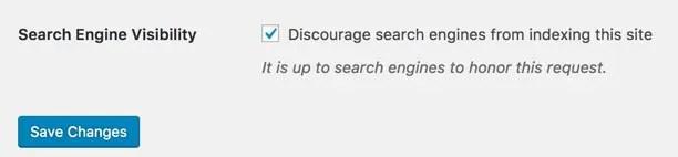 Отключить поисковые системы в WordPress
