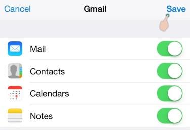 Сохранить параметры синхронизации Gmail