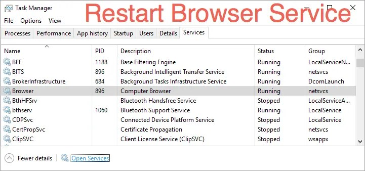 Перезапустите службу браузера компьютера