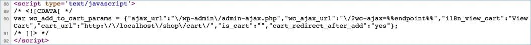 Фрагменты Ajax WooCommerce в исходном коде страницы