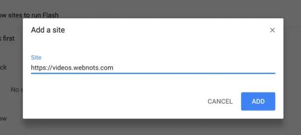 Разрешить определенному сайту запускать Flash
