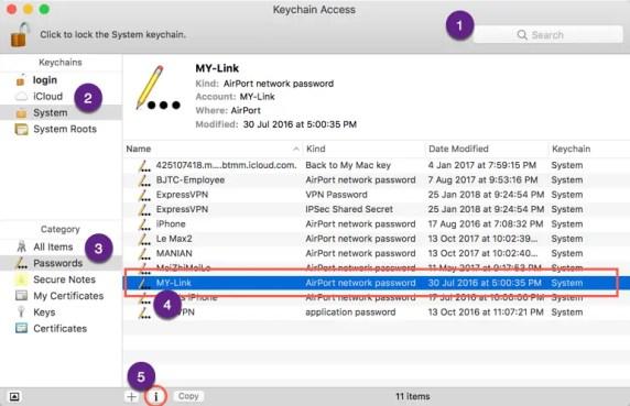 Использование связки ключей для поиска пароля Wi-Fi на Mac