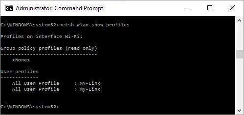 Просмотр имен профилей W-Fi в командной строке