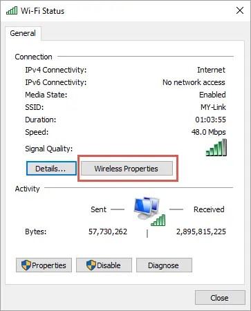Диалог состояния Wi-Fi в Windows 10