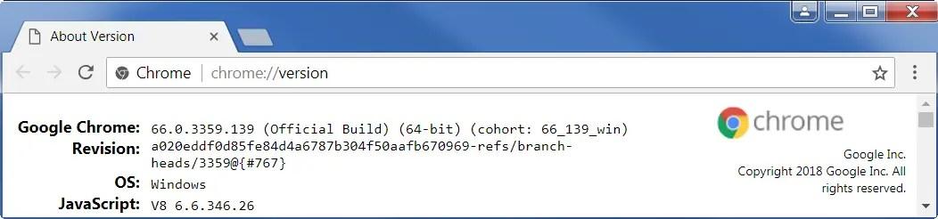 Проверить версию Chrome с помощью команды версии