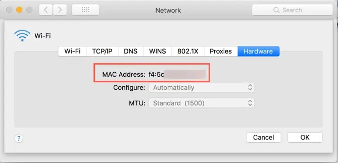 Найти MAC-адрес в Mac
