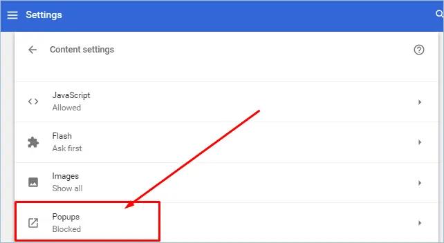 Раздел всплывающих окон в Chrome