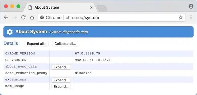 URL системы Chrome