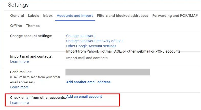 Добавление учетной записи электронной почты