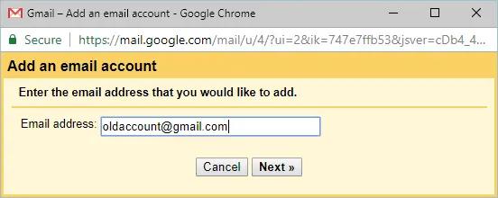 Ввод предыдущего адреса электронной почты