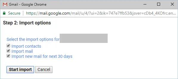Параметры импорта Gmail