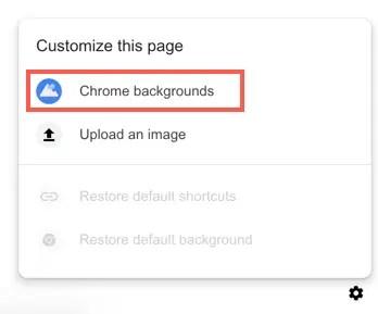 Выберите фоны Chrome