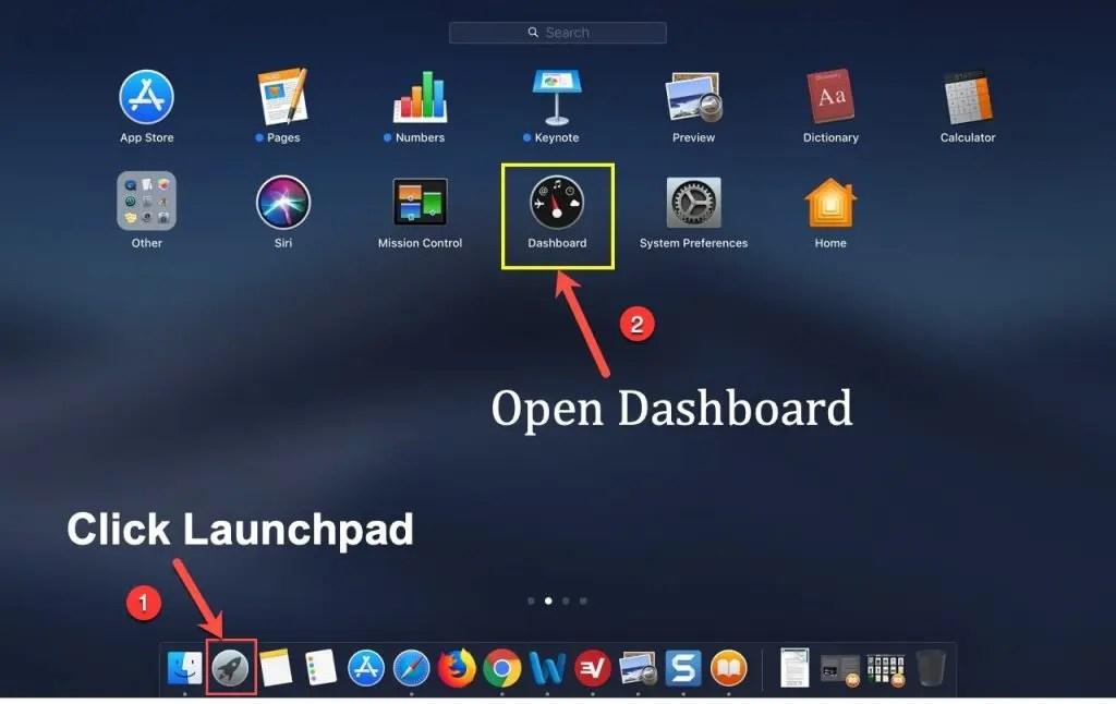 Откройте приложение Dashboard на Mac