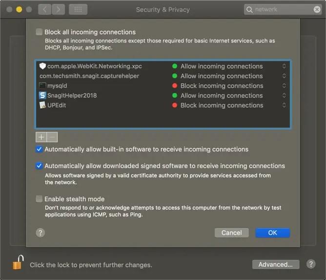 Дополнительные параметры брандмауэра на Mac