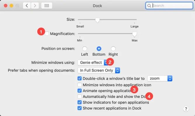 Отключить графические эффекты на Mac
