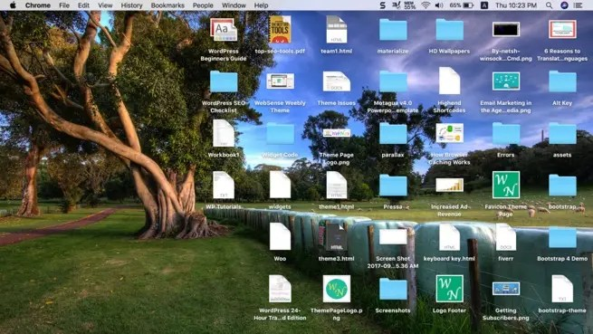 Mac с загроможденным рабочим столом