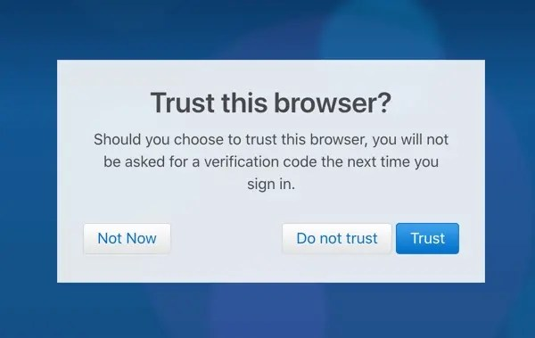 Доверяйте браузеру доступ к iCloud