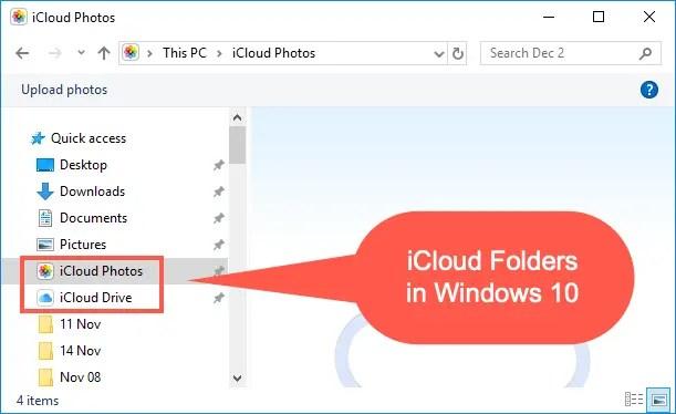 Папки iCloud в Windows 10