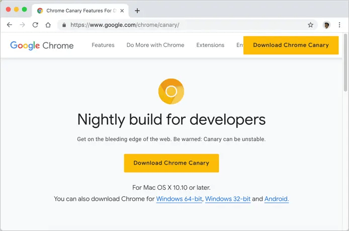 Версия Google Chrome Canary