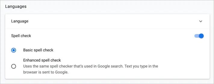 Вариант проверки орфографии в Chrome Canary