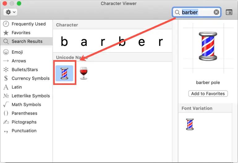 Символ полюса парикмахера в программе просмотра персонажей Mac