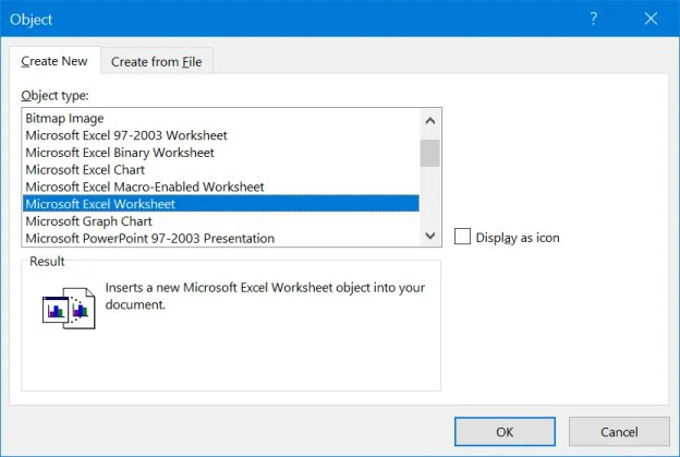 Создать пустую таблицу Excel в Word