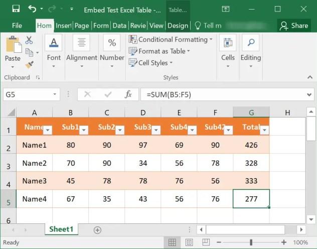 Образец файла Excel