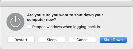 Меню выключения в Mac