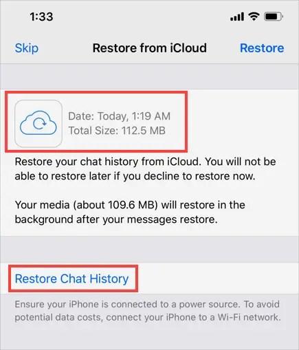 Восстановить историю чата WhatsApp