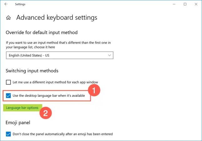 Включить языковую панель в Windows 10