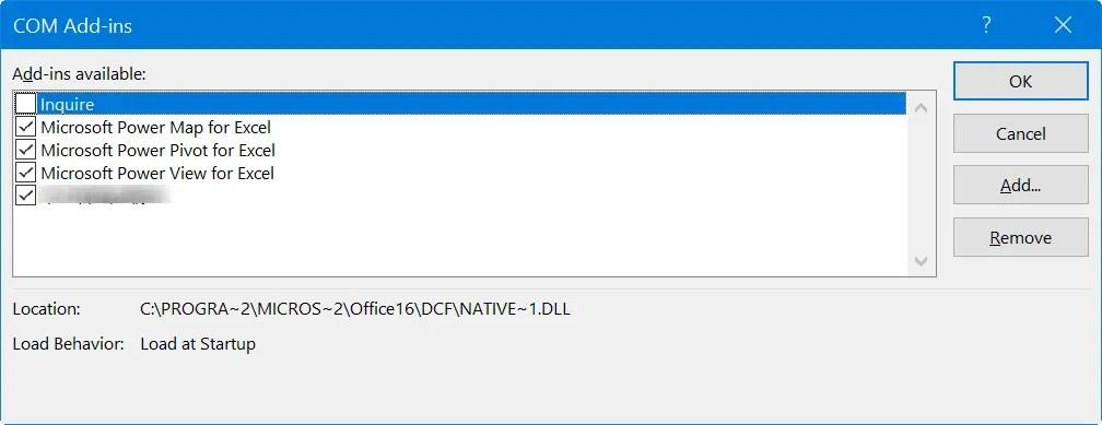 Проверить надстройки в Excel