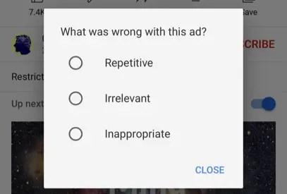 Выберите причину блокировки рекламы