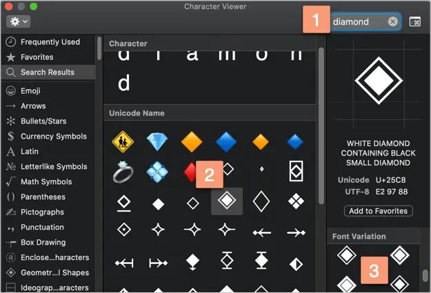 Алмазные символы в Mac