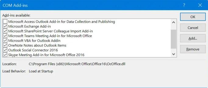 Отключить надстройки в Outlook