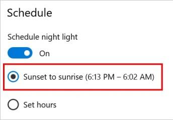 Расписание ночного режима