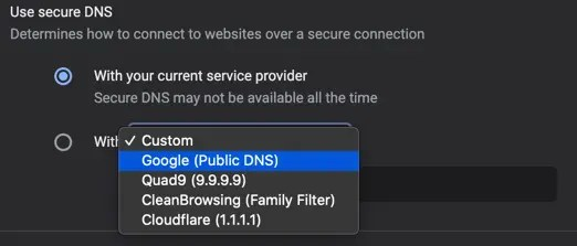Выберите Public DNS в Chrome