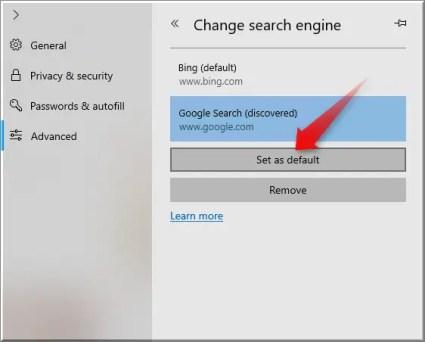 Установить поисковую систему по умолчанию