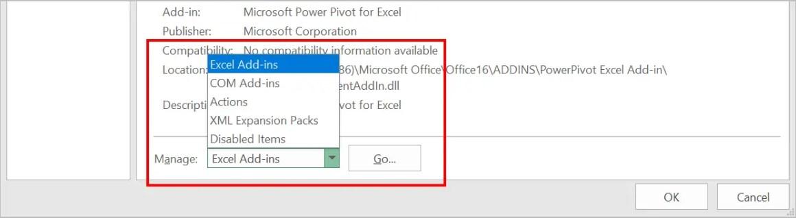 Просмотр надстроек в Excel
