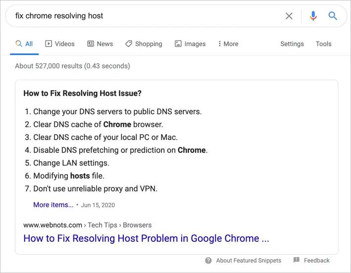 Рекомендуемый фрагмент в поиске Google