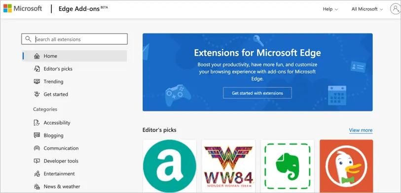 Официальный магазин расширений Microsoft Edge